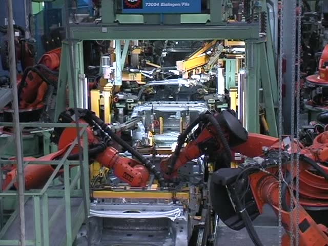 car factory, robot welding
