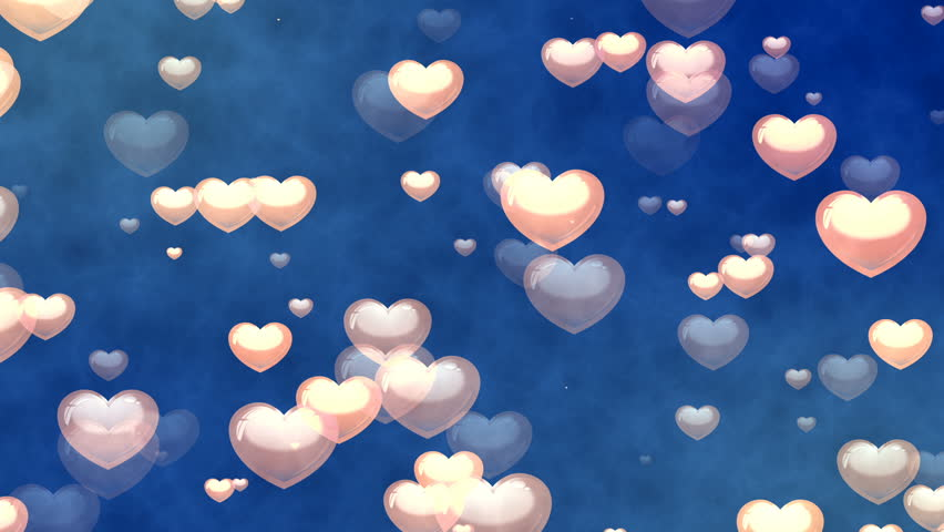 Bokeh Heart Shape Of Light Background Stock Footage Video: Blinking Hearts Of Blue And Turquoise Colors. Heart Shape
