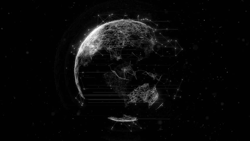 3d rendering abstract globe with particles and plexus structure. Digital technology planet with continent forming. Triangulated structure. Glows and particles.