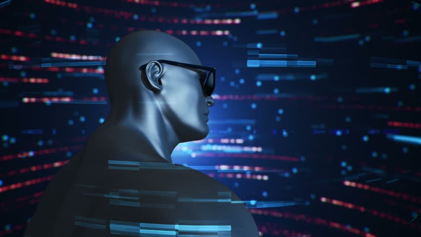 Animation of human with VR Headset at abstract space with particles and data. Virtual reality and technological industry. Animation of seamless loop. | Shutterstock HD Video #21710293