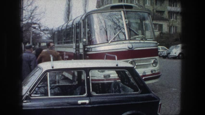 ZURICH SWITZERLAND 1976: getting on tour bus watching to ice hockey match