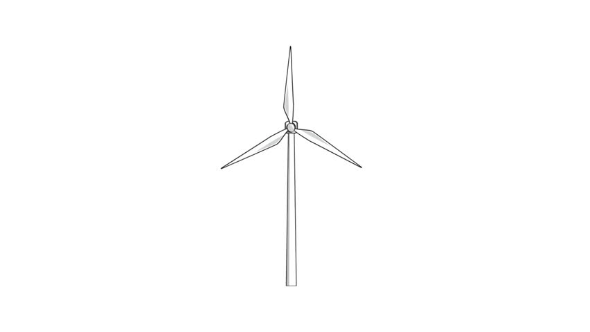 Line Drawing Windmill : Natural resource animation windmill stock footage a