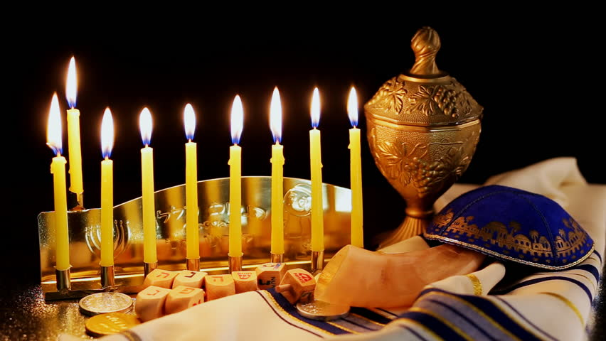Jewish Holiday Hanukkah With Menorah Traditional
