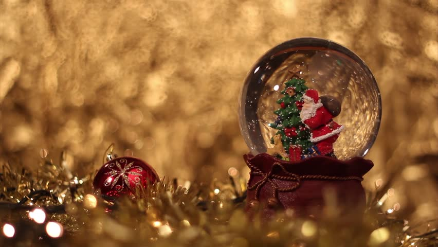 We wish you a merry Christmas music from Snow Globe - Santa Claus with Christmas tree HD