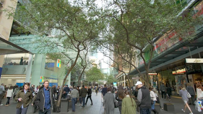 Sydney, Australia - June 26, 2016: 4k video of walking along the Pitt Street Mall in Sydney, Australia. It is one of busiest shopping precincts in Australia.