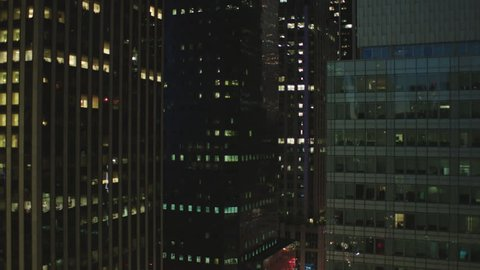 night Static Lock part large stitched together New York, rake, panorama looking across nice cityscape modern office buildings window plate, window POV, rooftop POV, balcony POV