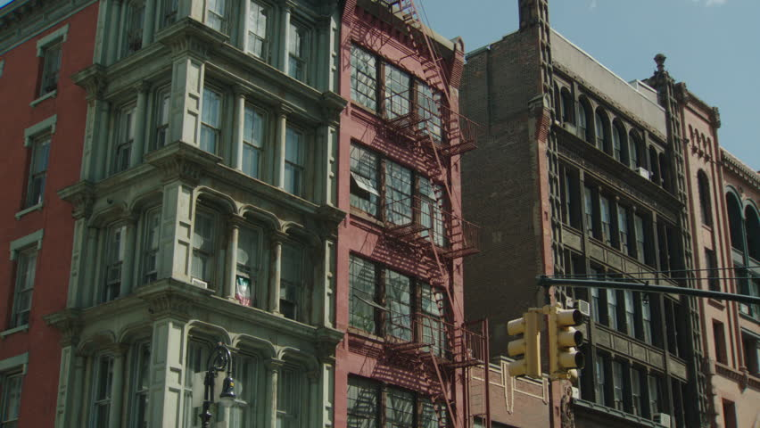 Day Eastern Lofts Apartment Building Office Building One Fire Escapes City  Street Lined Stores Bottom Brick Part 69