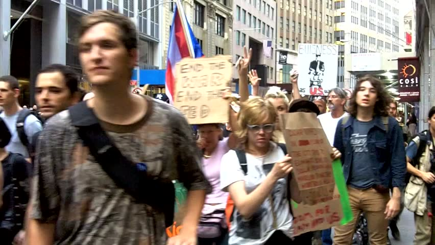 NEW YORK - 2011 and 2012: Compilation of Occupy Wall Street protest marches from September 2011 to February 2012 in New York City.