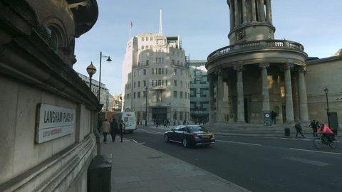 PORTLAND PLACE, REGENT STREET, LONDON - NOVEMBER 2, 2016. Wide angle of BBC Broadcasting House in Portland Place, Regent Street, London.