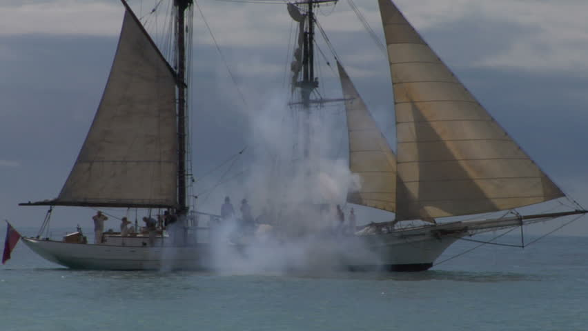 Schooner fires a cannon