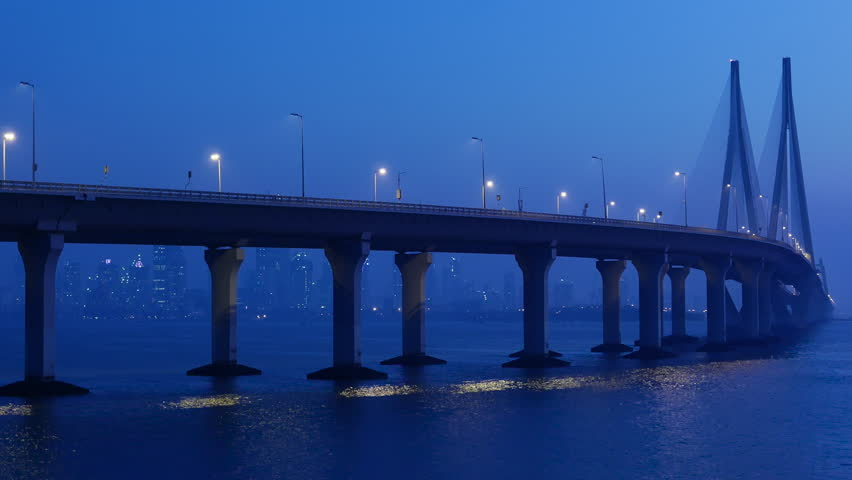 4k Time lapse footage of Bandra Worli sea link also known as Rajiv Gandhi Sea link, at late evening, Mumbai, India.
