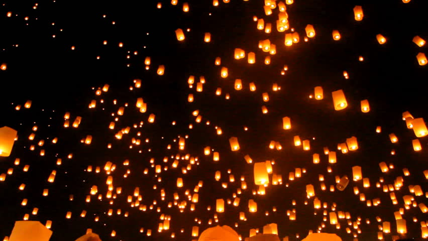 Release floating lanterns to the sky , Lantern festival