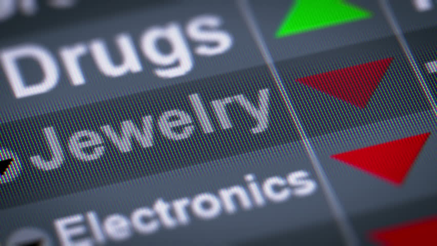 Jewelry index on the screen. Down. Looping. | Shutterstock HD Video #21919153