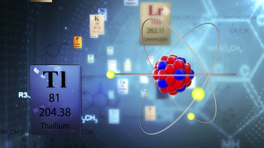 Scientific background atom model with elements of periodic table atom model with elements of periodic table and chemical formulas hd stock urtaz Choice Image