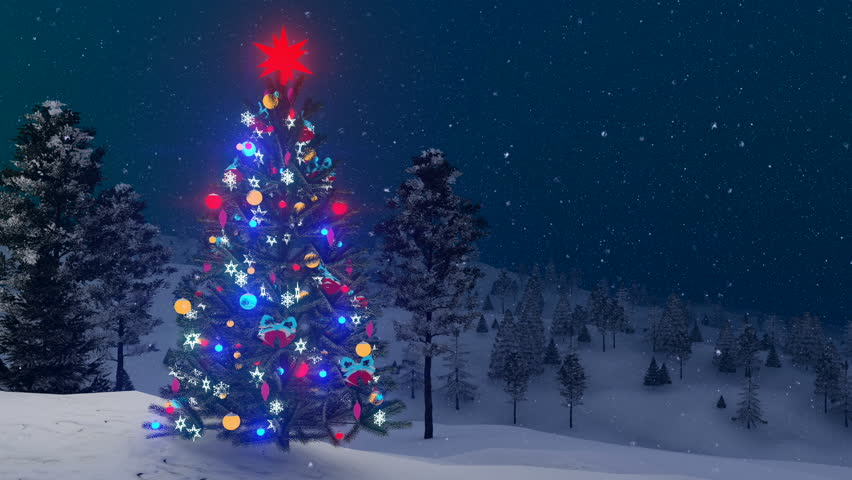 Outdoor Christmas Tree Decorated With Glowing Holiday Toys Among ...