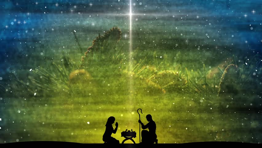 Religious Christmas Scene Featuring A Stock Footage Video