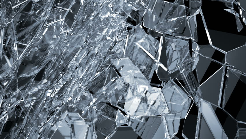 Pieces of destructed Shattered glass in slow motion. Alpha matte. 3d rendering 3d animation | Shutterstock HD Video #21985003