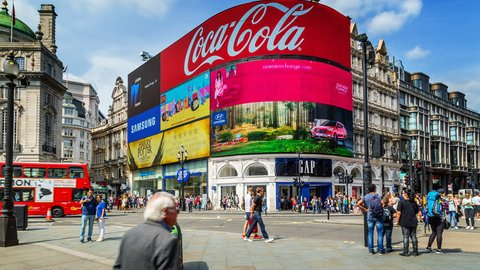 London, England. Circa, 2016. Hyperlapse of the crowded Piccadilly Circus in London's West End. The Circus is known for its video display and neon signs mounted on the corner building.
