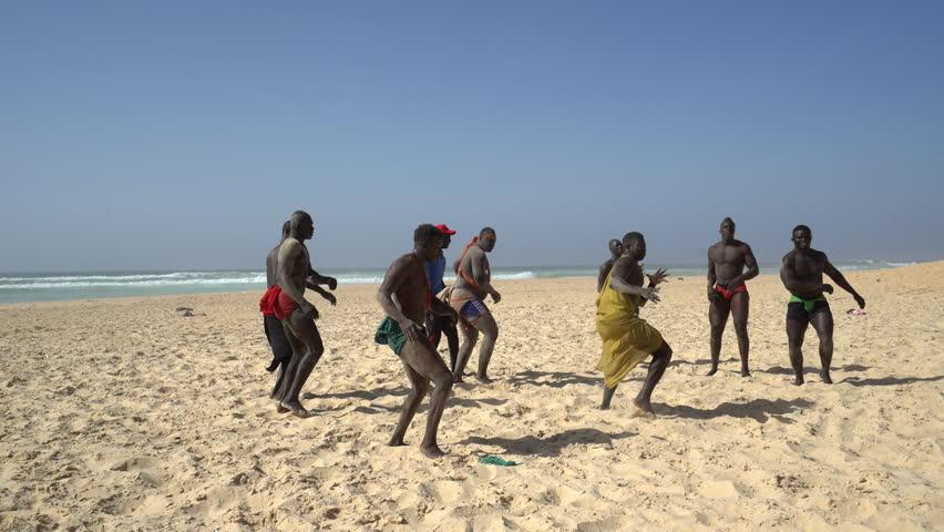 Senegalese wrestling on the beach - Traditional African sport - 2016 April: Dakar, Senegal