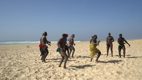 Senegalese wrestling on the beach - Traditional African sport - 2016 April: Dakar, Senegal