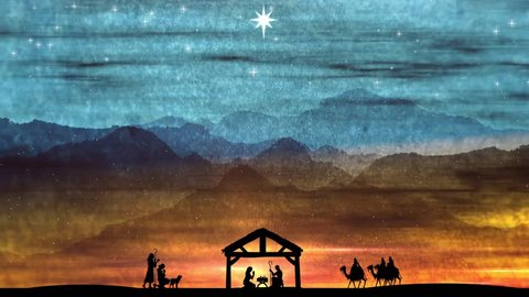 Beautiful Christmas Nativity Scene Featuring The Baby Jesus Laying In A Manger. Holy Night Silent Night. Messiah's Birth Worship Background.