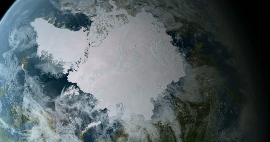 Orbiting over North Pole 3D Animation 4k