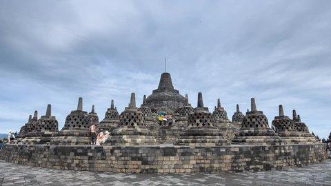 Borobudur (or Barabudur), a 9th-century Mahayana Buddhist temple in Magelang, Central Java, Indonesia. (Timelapse)