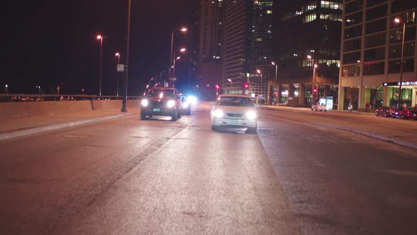 Night process plates straight back continue driving quiet downtown city street, fall winter   Shutterstock HD Video #22029883