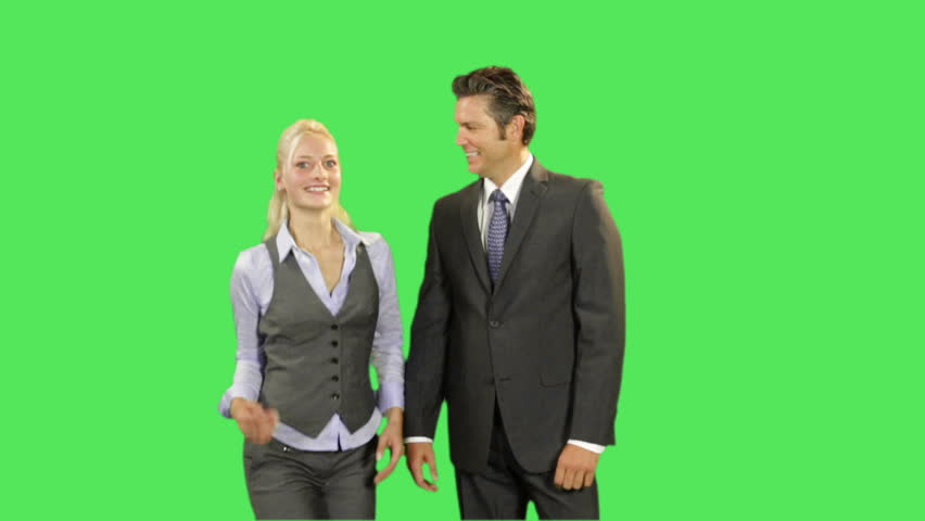 Business male and female high five achievement on greenscreen