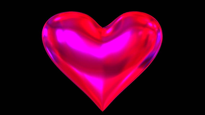 Animated Glossy Red Heart Spinning Against Transparent Background In