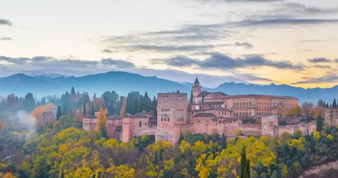 Alhambra fortress in the autumn morning, time-lapse video, Granada, Spain