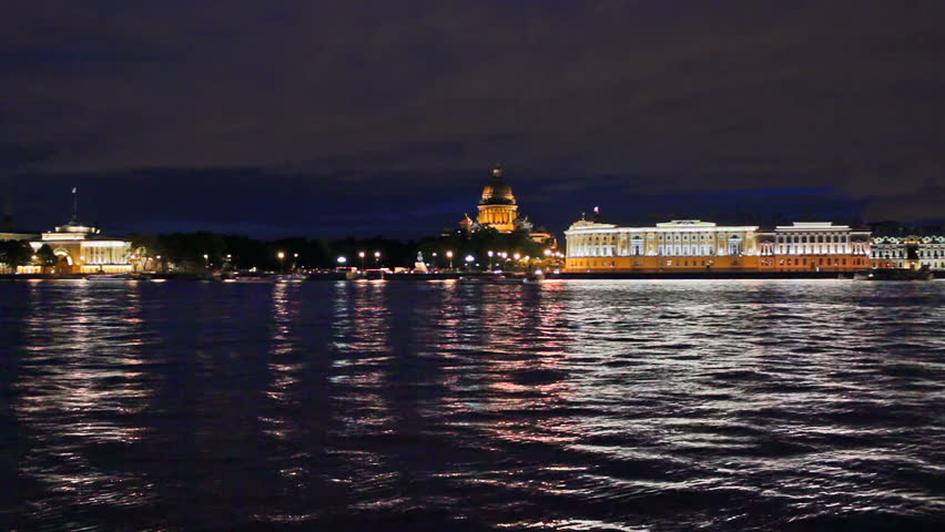 English Embankment at night - a view from the waterfront. St Petersburg, Russia