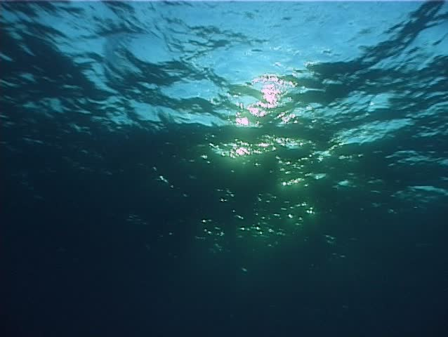 Waves from underwater and bubbles in back-light. Shot captured by 3CCD camcorder.  #221233