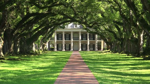 Tree lined entrance to Oak Alley southern plantation house in Vacherie, Louisiana