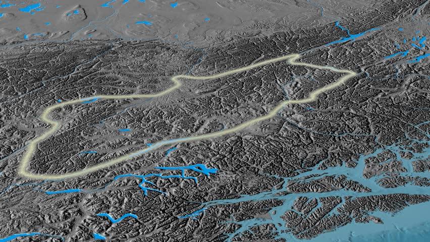 Revolution Around Cassiar Mountain Range Glowed Satellite - Satellite height map