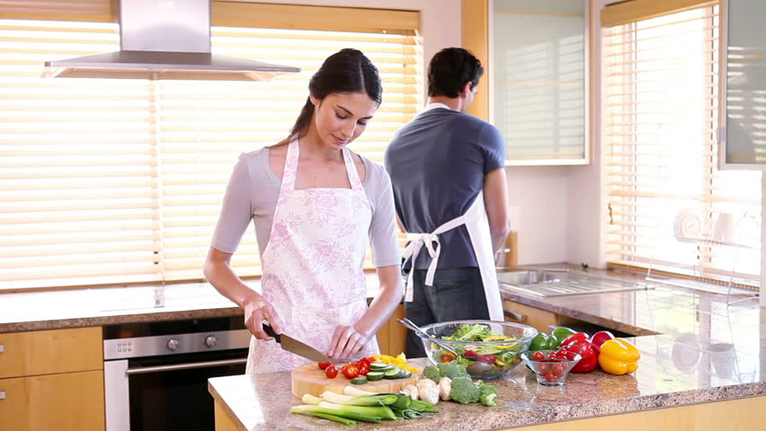 Home Kitchen Cooking happy couple dancing at home kitchen stock footage video 24164593