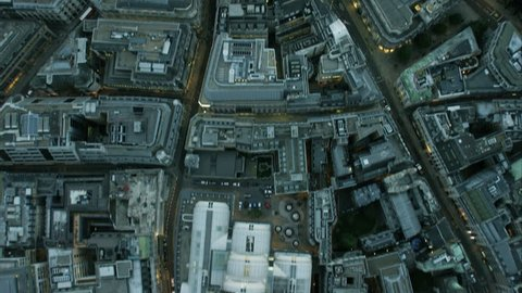 Aerial overhead rooftop view of business and financial buildings in inner city London England