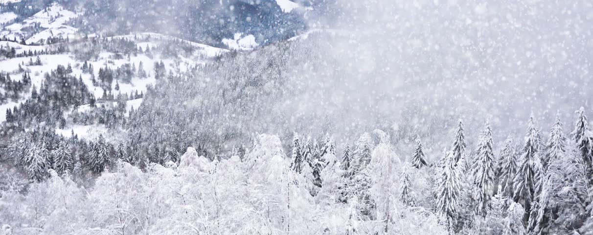 Winter Animation Snowfall in the Mountains