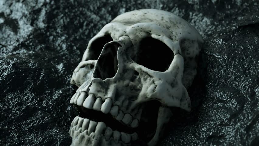 ancient human skull. Apocalypse concept. Super realistic 4k animation.