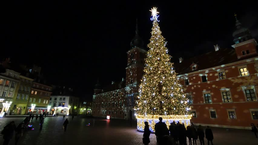 Christmas Decorations In Warsaw, Poland.Christmas Tree On The Old ...