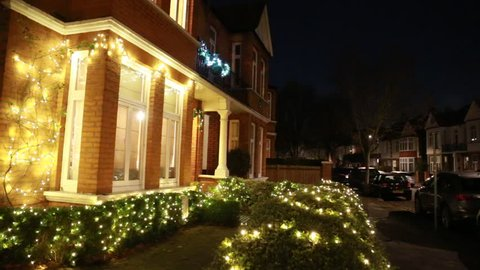 House decorated for Christmas in London suburb