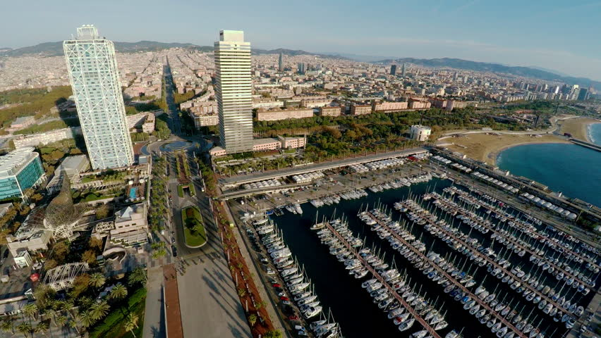 Aerial view. Barcelona. Architecture, buildings and streets. Coastline. Spain. Shot in 4K (ultra-high definition (UHD). ProRes.