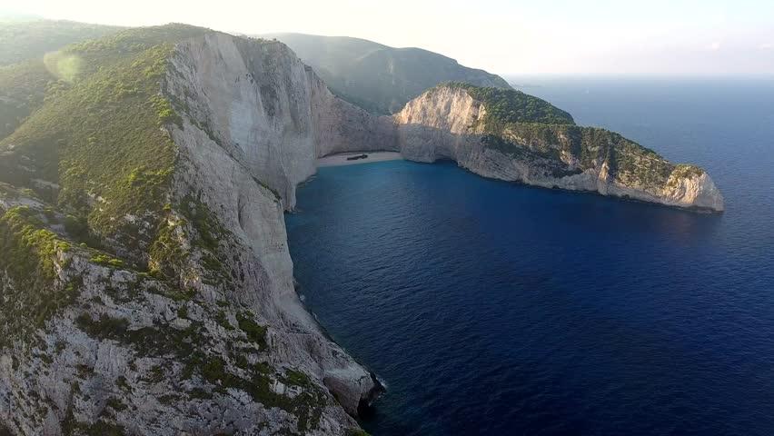 Dramatic Aerial Footage Shipwreck Bay,  Navagio Beach, Zakynthos, Greece