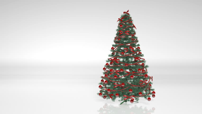 christmas tree with red decorations and ornaments isolated on white background hd stock video clip - Christmas Tree Light Bulbs