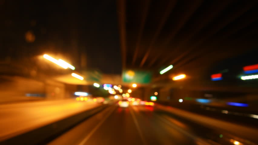 Driving at high speed through the streets, out of time timelapse
