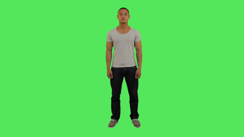 Portrait of male looking to camera , greenscreen