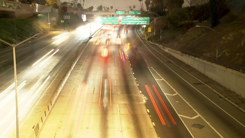 Time Lapse of Streaking Traffic on the 101 Freeway at Night  Los Angeles - April 2012 | Shutterstock HD Video #2231083