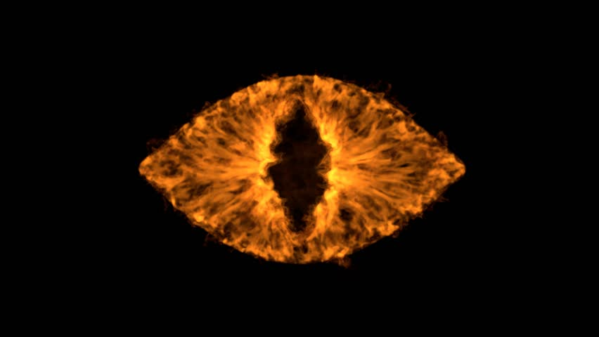 The eye of Sauron, 4k high detailed simulation of fire devil eye inspired by Lord Of The Rings, with alpha.