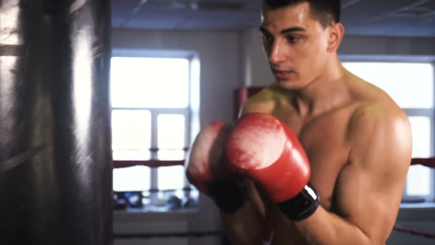 Young Male Sportsman Athlete Training In Boxing Gym 4k Stock Footage Clip
