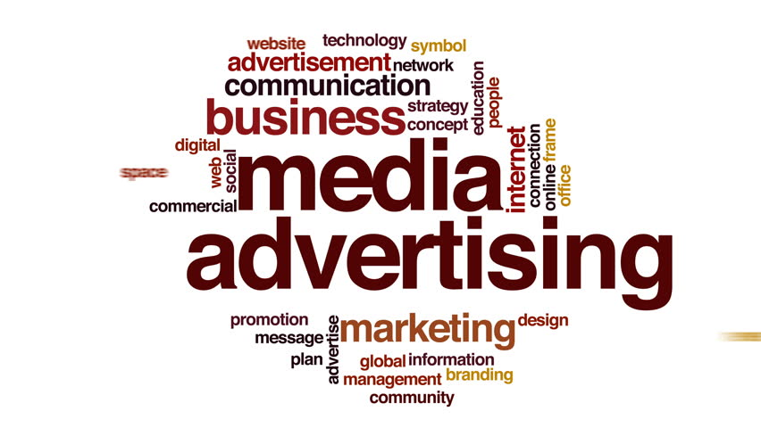 Media advertising animated word cloud. | Shutterstock HD Video #22349233